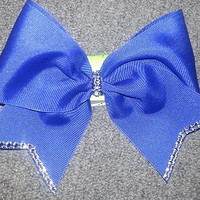 """Cheer Bow with """"rhinestone"""" tips and knot"""