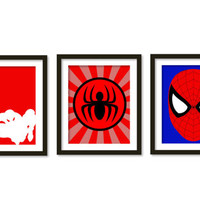 Super hero art, kids wall art, boys room decor, Spiderman , super heroes.