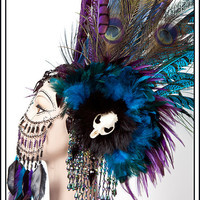 Sex Magic... Huge Feather Headband in Turquoise and Purple
