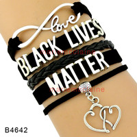 Infinity Love Black Lives Matter Wrap Bracelets Double Heart Charms New Year Multilayer Black Leather Cuff Jewelry