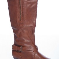 Qupid Striding Strong Buckle Harness Zipper Accent Slouchy Wedge Boots - Chestnut