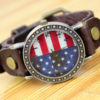 British restoring ancient ways the flag of the United States fashion watches, neutral watches