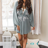 At the Waters Edge Embroidered V Neck Cinch Waist Dress (Sage)