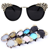 New 2015 Women Luxury Brand Sunglasses Jewelry Sun glasses Flower Rhinestone Decoration Vintage Shades Eyewear gafas de sol Z1