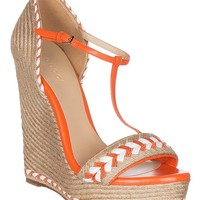 Gucci Women's Neon Orange Leather T-Strap Platform Sandal Shoes