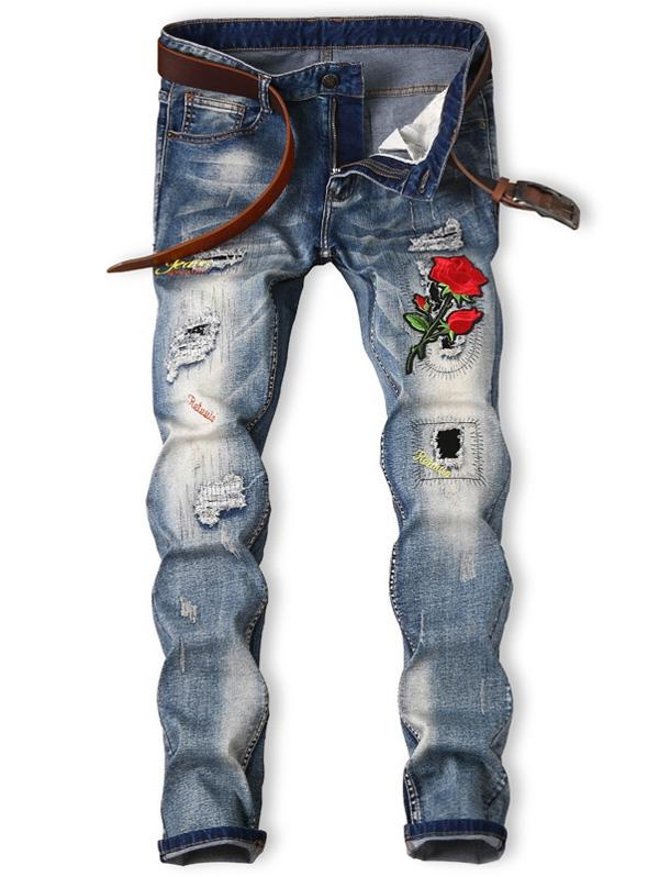 Image of Men's Embroidered Bleached Graphic Rose Ripped Jeans
