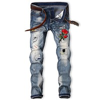 Men's Embroidered Bleached Graphic Rose Ripped Jeans