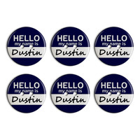 Dustin Hello My Name Is Plastic Resin Button Set of 6