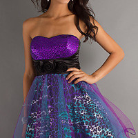 Prom Dresses, Celebrity Dresses, Sexy Evening Gowns at PromGirl: Purple Animal Print Short Dress