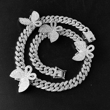 Silver Cuban Link Chain Butterfly Necklace