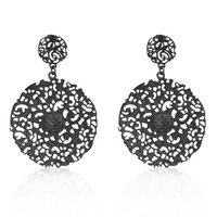 Black Brushed Vintage Lace Earrings