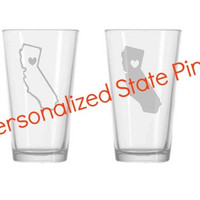 Personalized state pints, custom state with heart etched glass, beer