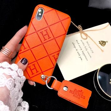 Hermes Fashion New Letter Leather Case Women Men Mobile Phone Case Cover Orange