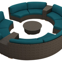 2016 All Weather Outdoor 7 Piece Patio Wicker Round Sectional Set