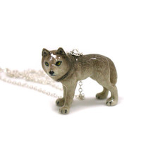Gray Wolf Necklace, Charm Necklace, Charm Jewelry, Gray Wolf Pendant, Gray Wolf Jewelry, Gray Wolf Charm, Jewelry Gift, Wildlife Necklace