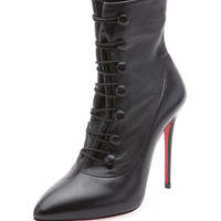 Christian Louboutin French Tutu Button-Loop Napa Red Sole Booties