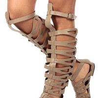 Natural Faux Leather Thigh High Gladiator Sandals