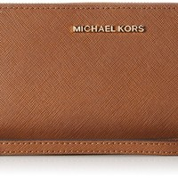 Michael Kors Women's Jet Set Travel Leather Continental Wristlet