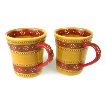 Set of 2 Hand-painted Flared Mugs in Honey - Encantada