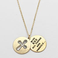 """With God All Things Are Possible"" Matte Gold Necklace"