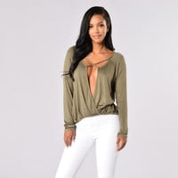 Deep V-Neck Cross Front Long Sleeve T-Shirt