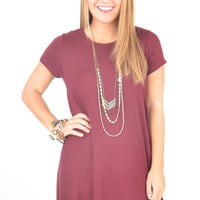 Short Sleeve Maroon Swing Dress with Side Pockets