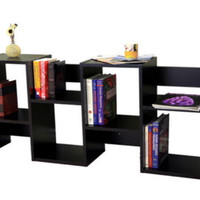 Contemporary Bookcase With Storage Shelves Home Office Furniture Black Finish