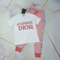 Dior Fashion Casual Multicolor Pattern Letter Print Short Sleeve Set Two-Piece