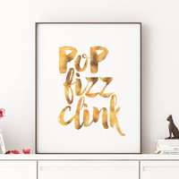 Cheers To 30 Years,Pop Fizz Clink,Cheers Sign,Weeding Anniversary,Celebrate Life,Birthday Gift,Drink Sign,Wall Art,Black Gold,Wall art