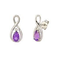 Diamond and Amethyst Earrings (.01 cttw) 925 Sterling Silver Figure Eight
