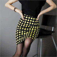 Spring New Plaid Skirts Women OL High Waist Plus Sizes Pencil Long Skirt = 1946727620