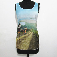 Bicycle to travel around the world tshirt,tracel with bike tanktop