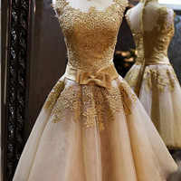 Elegant High Neck Gold Applique Ribbon Tulle Homecoming Dress