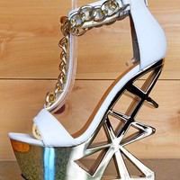 Picasso White T Strap Gold Chained Geo Cut Out Heel Wedge 5.5 - 7