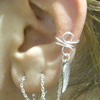 Wire Wrap EAR CUFF Sterling Silver Earring Threader -with Feather charm