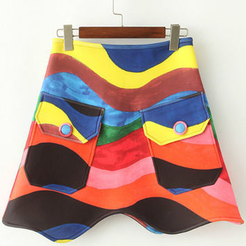 Multi-color Back Zipper Skirt with Pocket