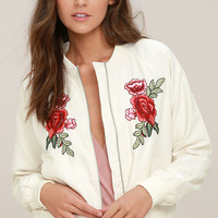 Jack by BB Dakota Varis Ivory Embroidered Bomber Jacket