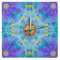Blue Star Hippy Mandala Patterned Square Wallclocks from Zazzle.com