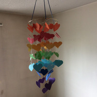 Rainbow floating Hearts mobile. Nursery mobile, Crib mobile,Paper circle mobile,Happy Birthday,Wedding.Gift. Choose Your Colors!