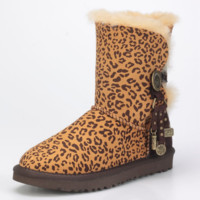 """UGG"" Women Fashion Casual Wool Snow Boots Calfskin Shoes Leopard grain G"