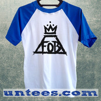 Fall Out Boy Crown Logo Basic Baseball Tee Blue Short Sleeve Cotton Raglan T-shirt