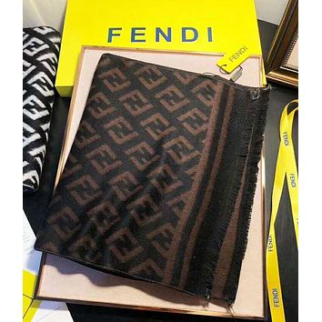 FENDI autumn and winter tide brand women's double F printing men's and women's cashmere scarf