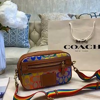 COACH 2020 new rainbow shoulder strap retro color printed logo shoulder bag crossbody bag