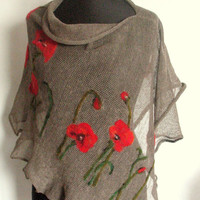 Linen Shawl Cape Clothing Natural Gray Red Poppy Felted Wool