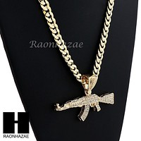 HIP HOP AK-47 GUN BIG PENDANT DIAMOND CUT CUBAN LINK CHAIN NECKLACE N4