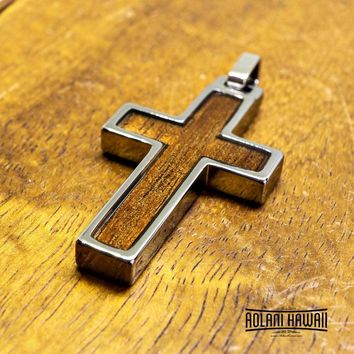 Cross pendant with Koa Wood handmade with Tungsten Carbide (27mm X 47mm, FREE Stainless Chain Included)