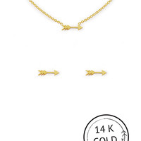Kitsch Arrow Charm Necklace and Earring Set