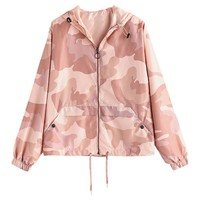 Trendy ZAN.STYLE Camo Print Zip Up Light Jacket Autumn Outwear Pink Drawstring Casual Loose Women Coats Windbreaker Harajuku Jackets AT_94_13