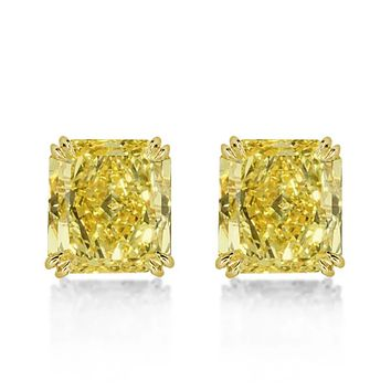 14K Yellow Gold 10TCW Cushion Cut Canary Yellow Sapphire Stud Earrings