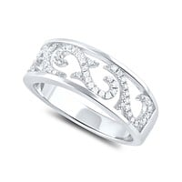 Sterling Silver Simulated Diamond Filagree Vine Ring